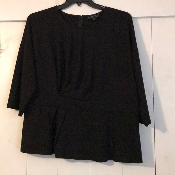 Eloquii Tops - Eloquii sz 18 black 3/4 sleeve gathered front top
